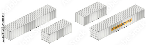 Photo Cargo container vector mockup on white background with side, front, back, top view