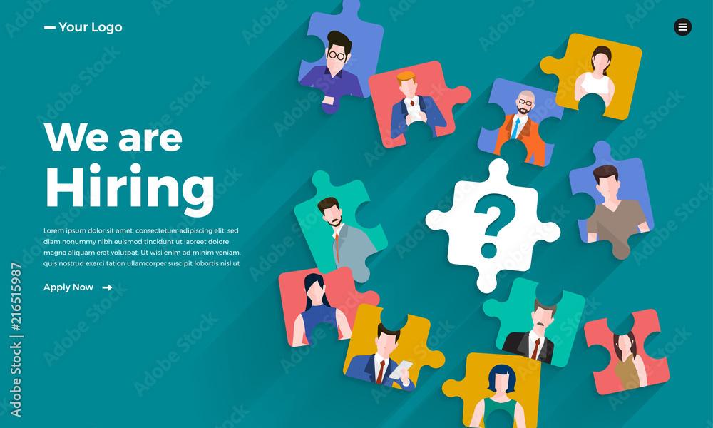 Fototapeta Illustrate design concept The finding employee. HR job seeking. Vector illustrate.