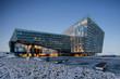 Leinwandbild Motiv 3d render, visualization of modern glass commercial building