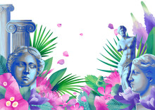 Design With Venus De Milo Sculpture, Column And Flowers