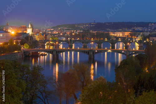 Foto op Plexiglas Oost Europa View of the bridges of the evening Prague. Czech Republic