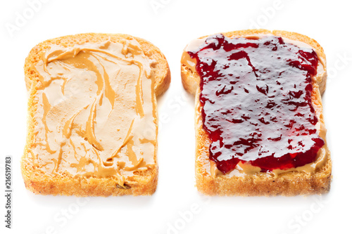 peanut butter and jelly sandwich isolated on white background