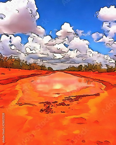 Staande foto Rood Oil painting. Art print for wall decor. Acrylic artwork. Big size poster. Watercolor drawing. Modern style fine art. Summer beautiful landscape. Bright sky. Sandy road.