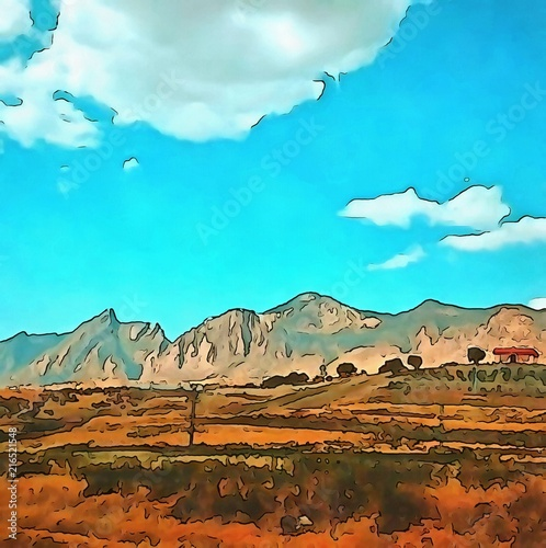 Foto op Plexiglas Turkoois Oil painting. Art print for wall decor. Acrylic artwork. Big size poster. Watercolor drawing. Modern style fine art. Beautiful mountain ladscape. Wonerful wild nature.