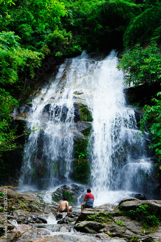 Poster Watervallen SAIKU waterfall in national park it is beautiful at southern, Thailand
