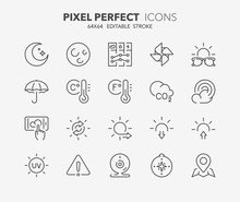 Weather Thin Line Icons 2