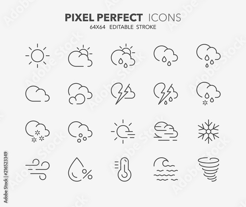 weather thin line icons 1 Tablou Canvas