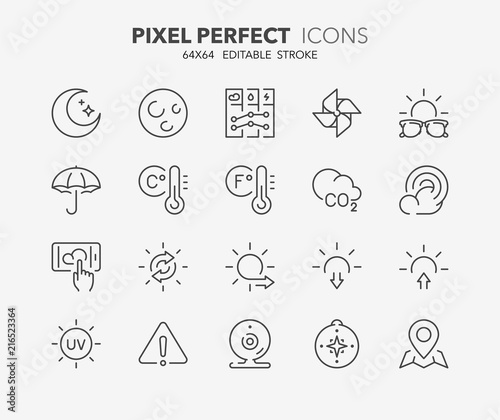 Obraz na plátně weather thin line icons 2