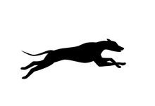 Running Dog Silhouette In Blac...