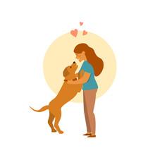Girl And Dog Hug Cute Cartoon ...