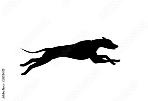running dog silhouette in black color vector Canvas Print