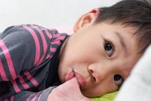 Close Up Little Asian Boy Suck...