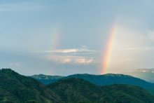 Double Rainbow In The Evening At Khao Kho Phetchabun Thailand