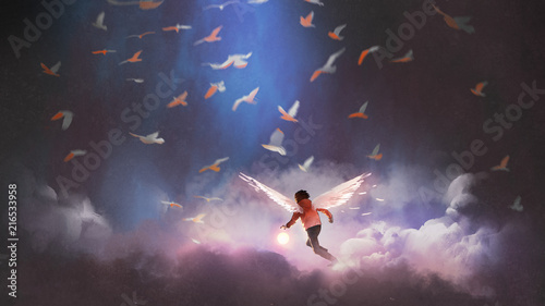 boy with angel wings holding a glowing ball running through group of birds, digital art style, illustration painting