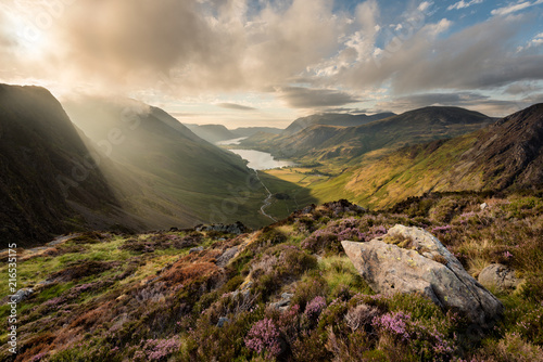 Obraz na plátne Stunning evening light at Haystacks overlooking Buttermere in the Lake District