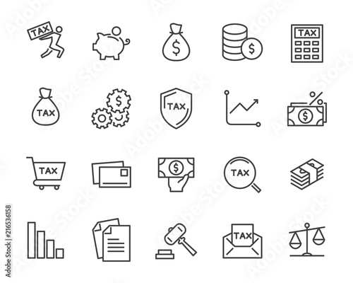 Obraz na płótnie set of tax vector line icons, such as mail, payment, money, legal and more