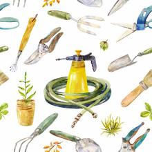 Watercolor Garden Instruments. Seamless Pattern