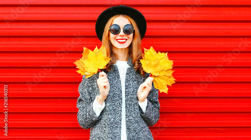 Pretty autumn smiling cool girl with yellow maple leaves on a red background - 216540313