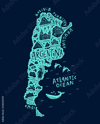 Argentinian Cartoon Map Canvas Print