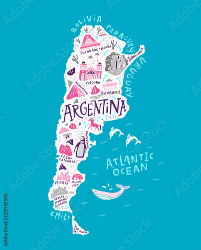 Pinturas sobre lienzo  The cartoon map of Argentina