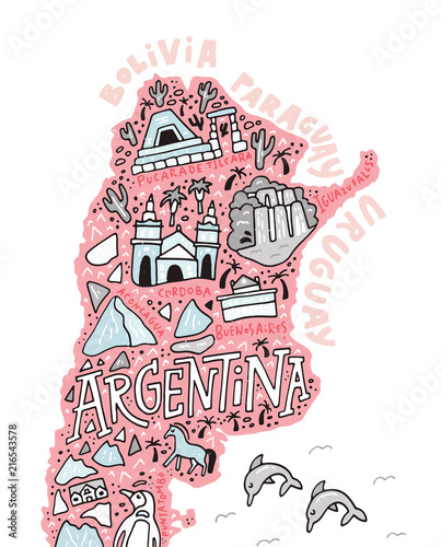 Argentinian Cartoon Map Wallpaper Mural