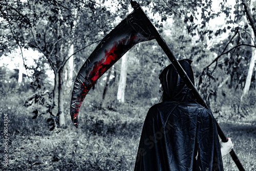 Back view of demon witch with reaper and blood in the mystery forest Canvas Print