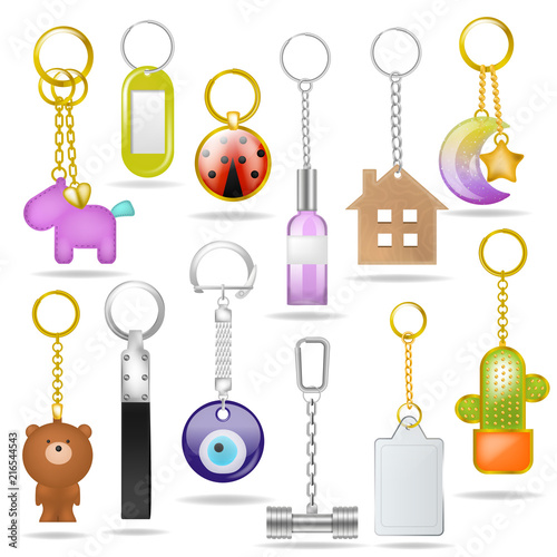 Photo Trinket vector metal keychain with silver ring amd metallic keying souvenir illu