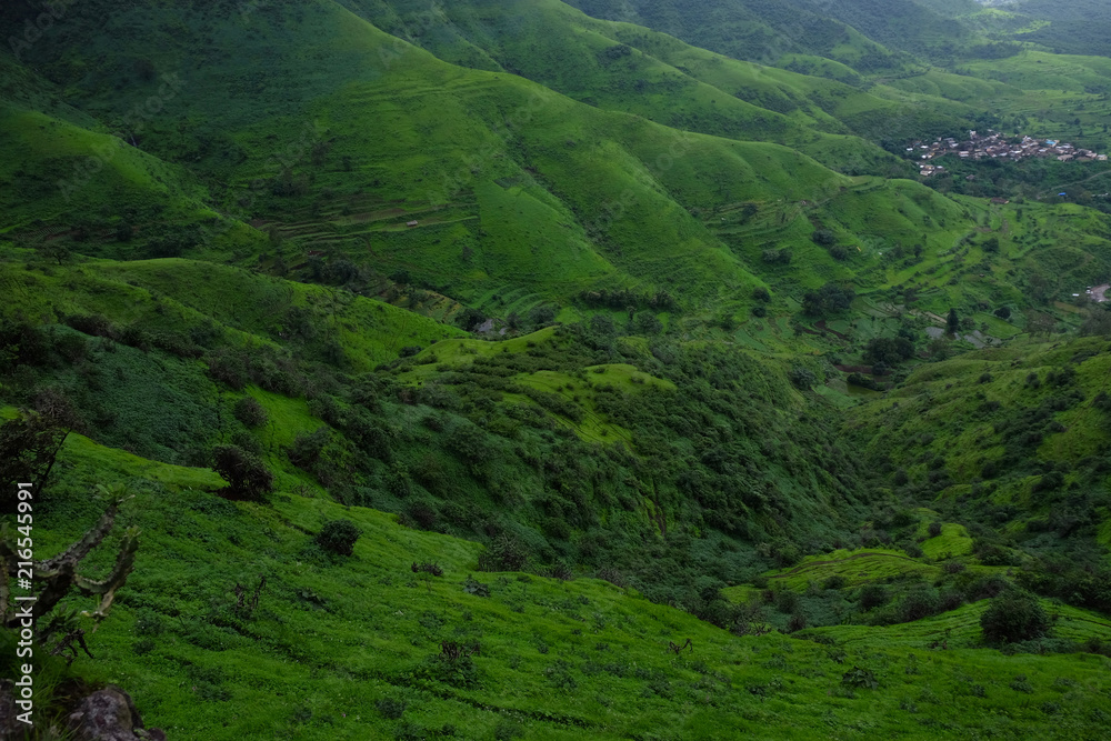 Fototapeta Lush green monsoon nature landscape mountains, hills, Purandar, Pune, Maharashtra, India  - obraz na płótnie