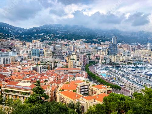 Landscape Panorama of Monaco coast with the medieval Monaco-Ville ward, Monaco Ville Harbour Monte Carlo, Monaco