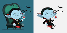 Cute Cartoon Tiny Dracula Sit ...