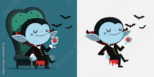Cute cartoon tiny Dracula sit in a chair and drink blood Canvas Print