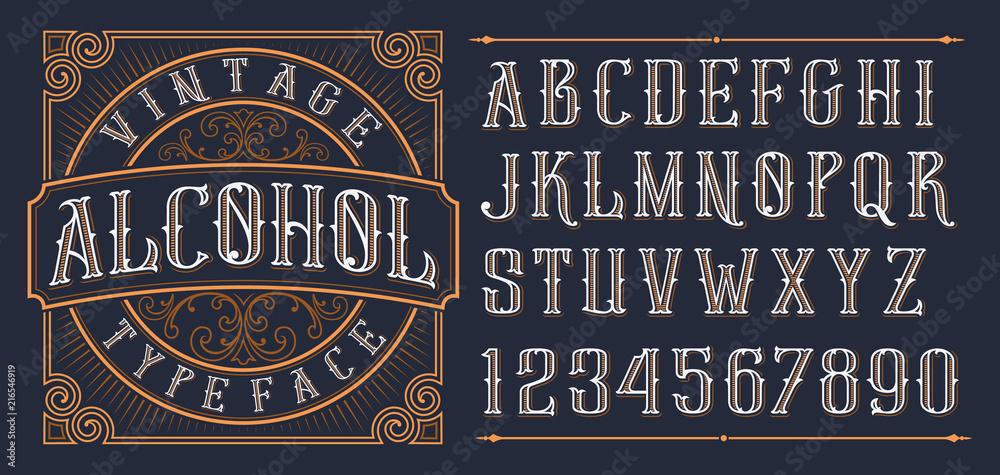 Fototapeta Vintage decorative font.
