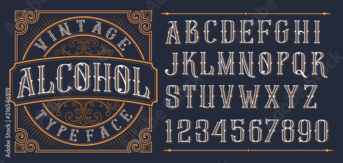 Vintage decorative font. Canvas Print