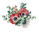 Watercolor bouquet with anemone, eucalyptus and berries. Hand painted red and white flowers, green leaves, berries, branch isolated on white background. Illustration for design, print or background. - 216549745