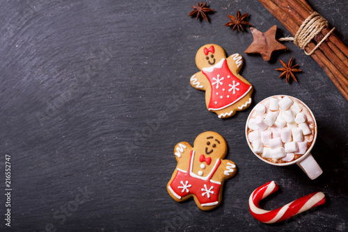 Foto op Canvas Chocolade Christmas drink. Cup of hot chocolate with marshmallows, top view