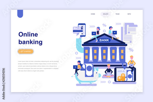 Landing page template of online banking modern flat design