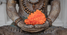 Buddha With Orange Flower