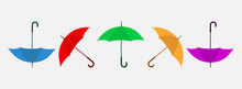 Set Of Colorful Umbrella Illustration. Flat Style Vector EPS