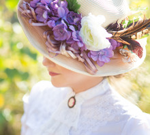 Beautiful Lady In A Hat With F...