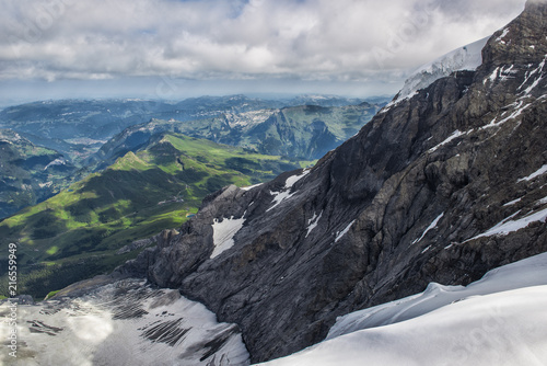 Swiss Mountain View From The Top Of Jungfrau To The Train Station Of