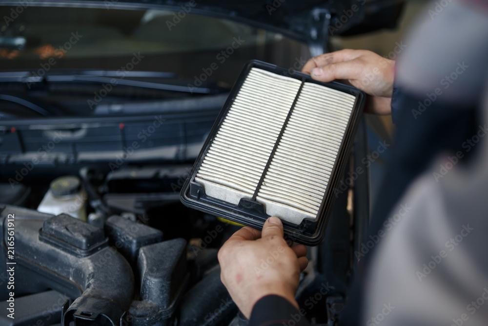 Fototapeta worn cabin air conditioner filter of car