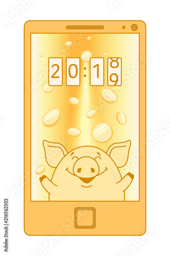 yellow phone with a screen saver on the monitor pig catches gold coins over