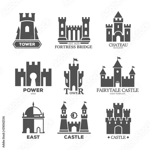 Fényképezés Castle or fortress parts for logo or icons