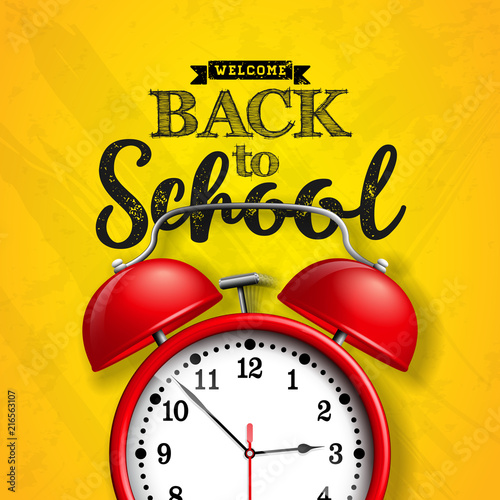 Fotobehang Pop Art Back to school design with red alarm clock and typography on yellow background. Vector illustration for greeting card, banner, flyer, invitation, brochure or promotional poster.