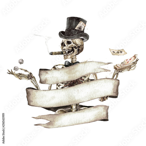 Poster Watercolor Illustrations Human Skeleton decorated with ribbon banner. Watercolor Illustration.