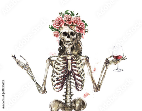 Poster Watercolor Illustrations Human Skeleton decorated with flowers. Watercolor Illustration.