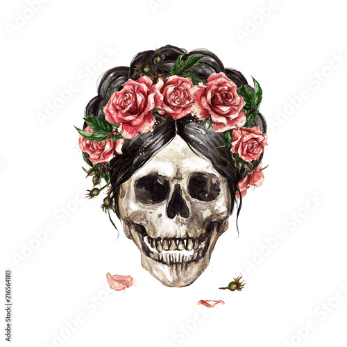 Human Skull decorated with Flowers. Watercolor Illustration.