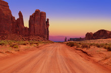 Dirt Road At The Hub In Monument Valley Tribal Park, Arizona, USA