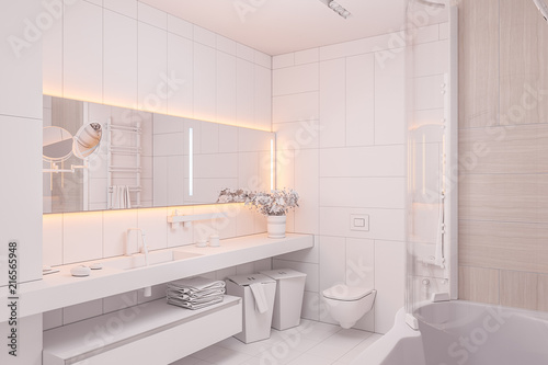 3d illustration Interior design of a modern bathroom without ...