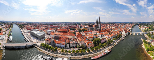 Foto auf Gartenposter Himmelblau Panoramic landscape with view on Danube river and Regensburg city architecture, Germany, Aerial photography